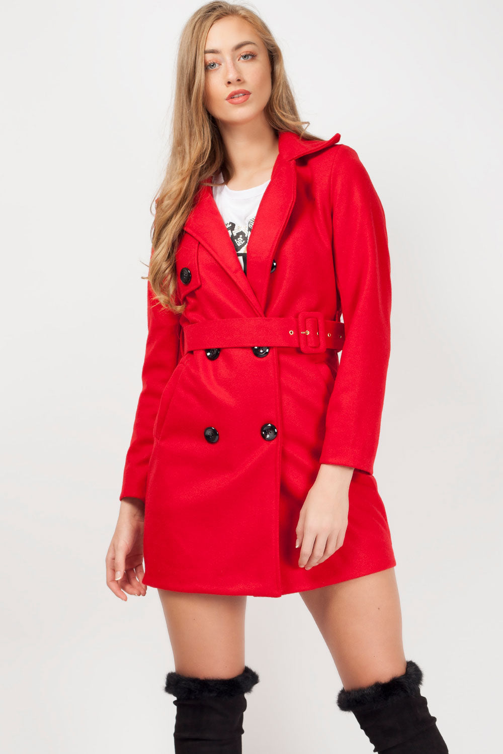 womens red winter coat