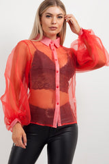 womens red sheer puff sleeve shirt styledup fashion