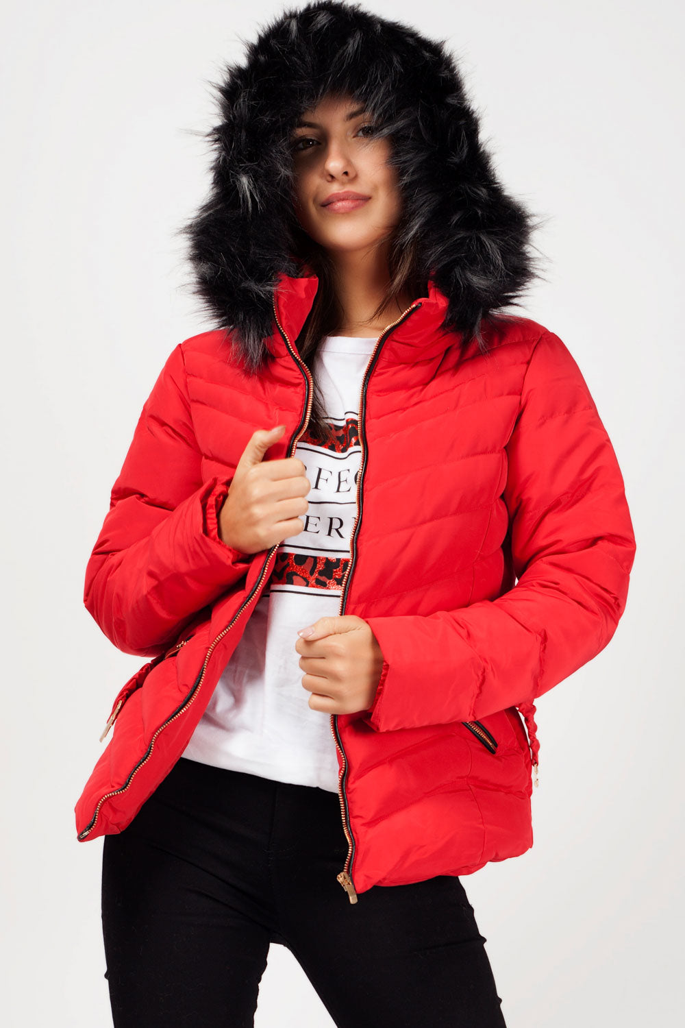 chunky faux fur hood red womens