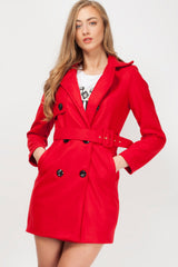 womens duster coat red