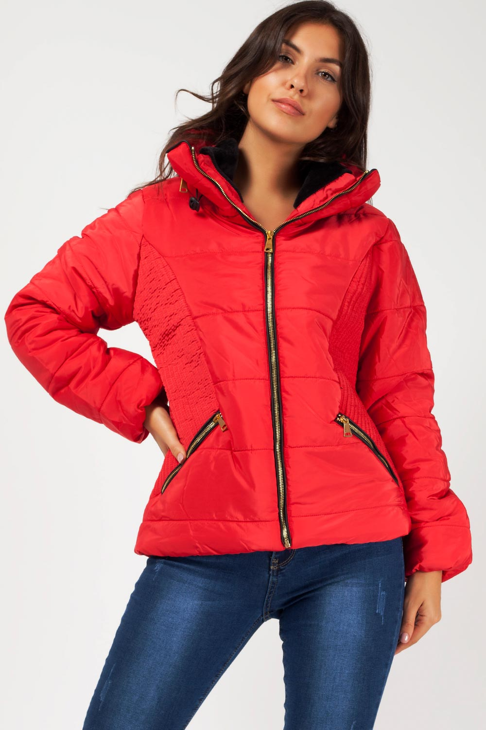 womens red quilted coat