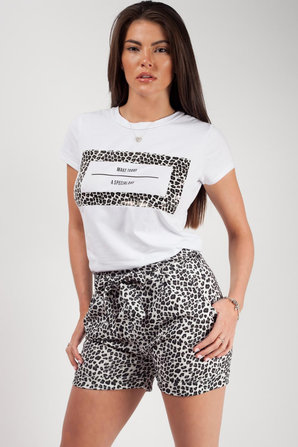 leopard print t shirt and shorts two piece set
