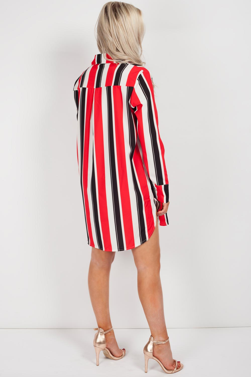 red and white stripe shirt dress womens