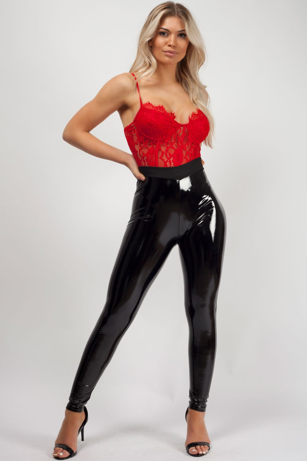 high waisted vinyl leggings