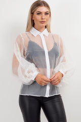 white sheer balloon sleeve shirt styledup fashion