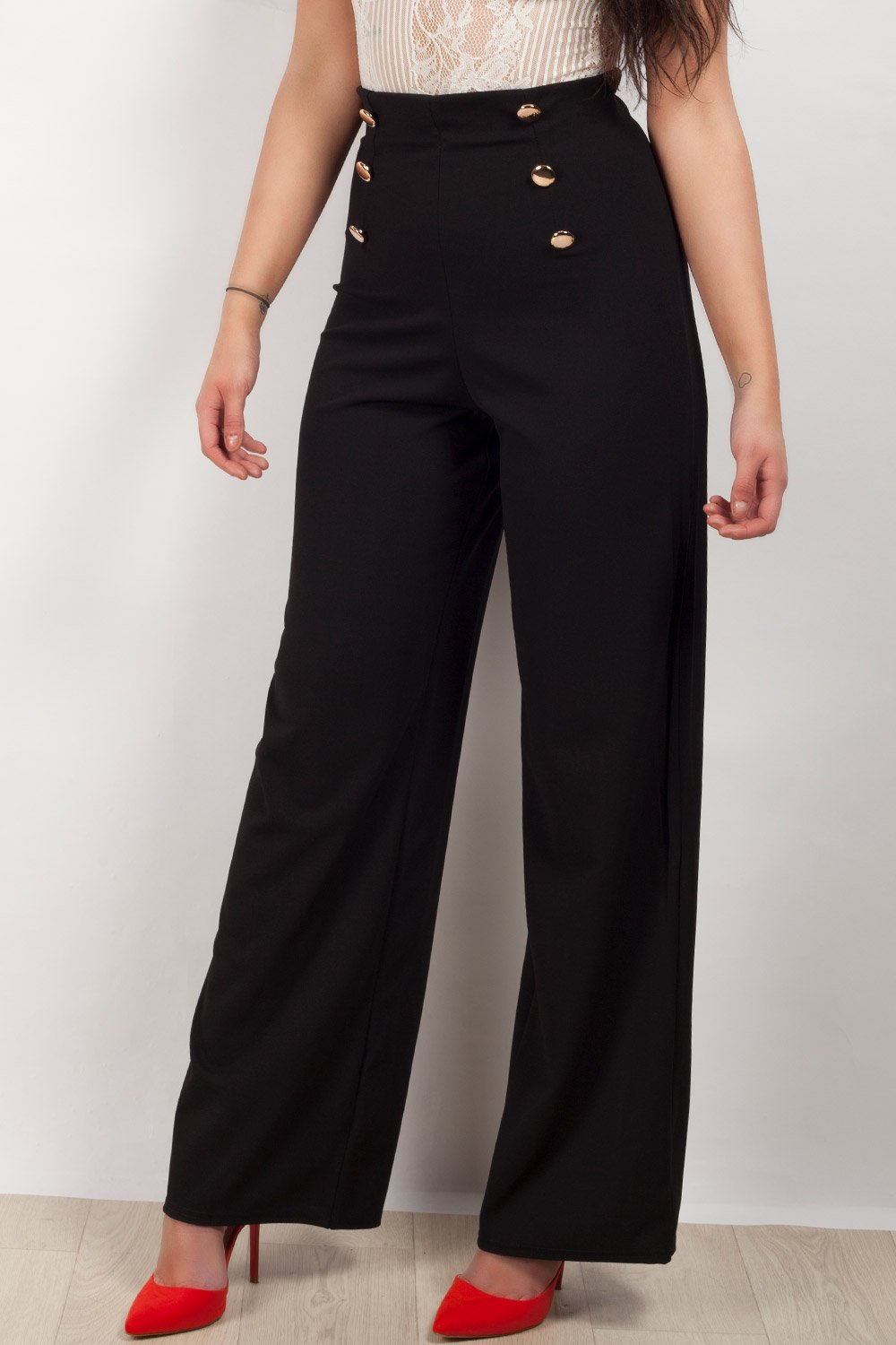 c6a644ad95d7 Womens Wide Leg Palazzo Trousers With Gold Button Detail UK6 - UK14 ...