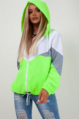 neon green hooded paneled windbreaker