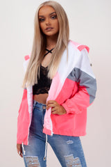 hooded paneled windbreaker neon pink