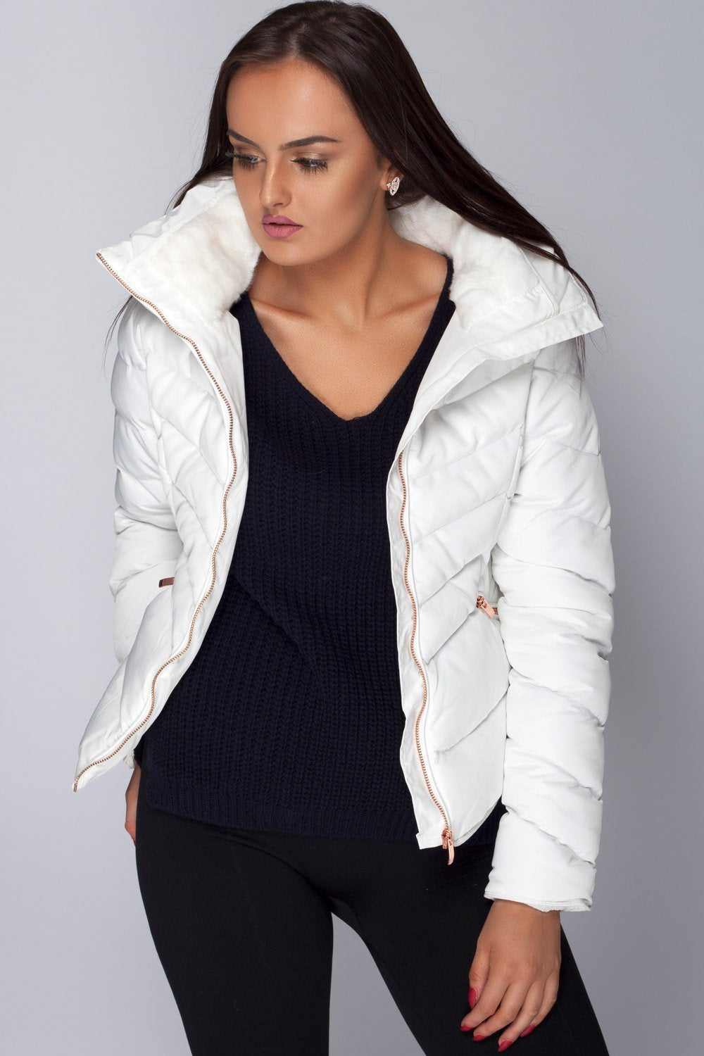 8a999765 Zara Off White Padded Faux Fur Coat Jacket – Styledup.co.uk