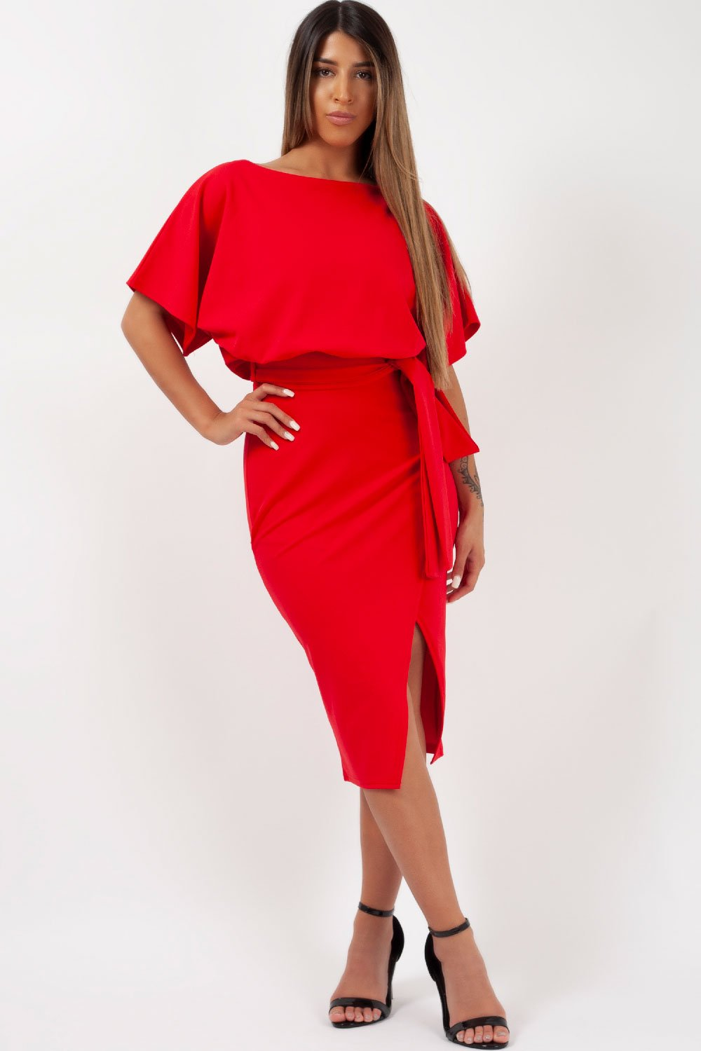 midi wrap dress red