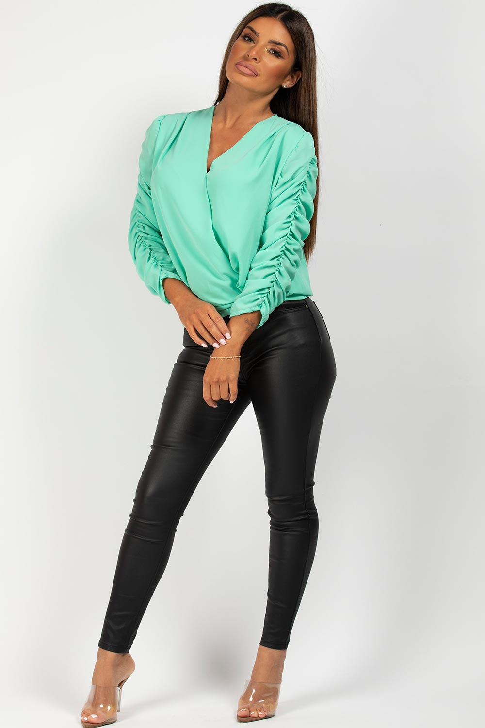 ruched sleeve wrap over blouse mint