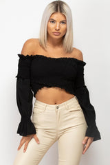 black bardot crop top