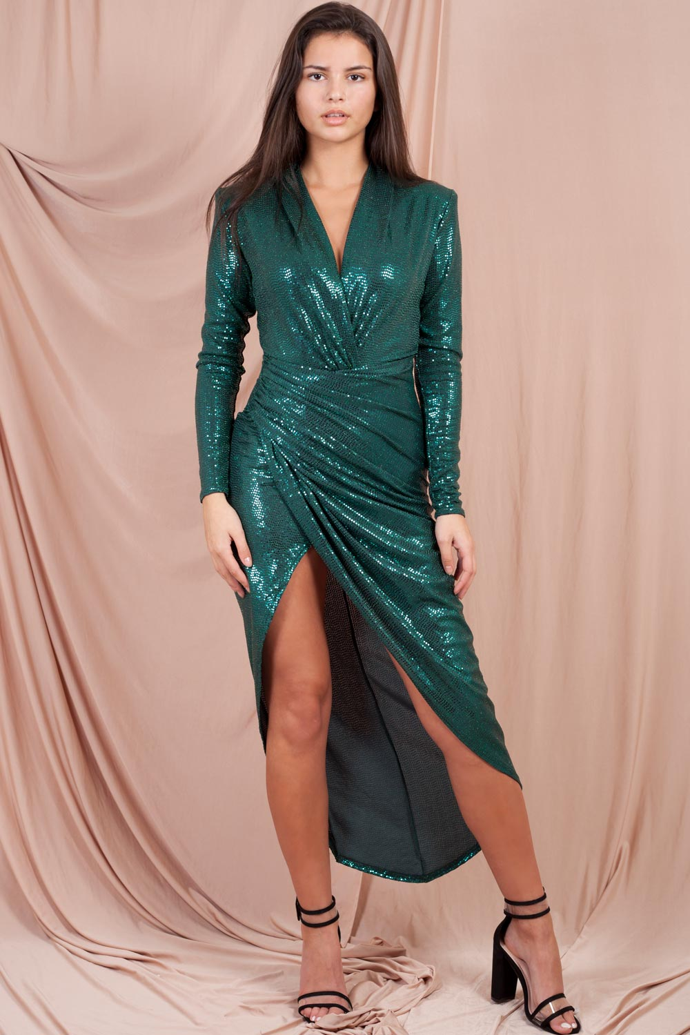 Sequin Wrap Plunge Midi Dress