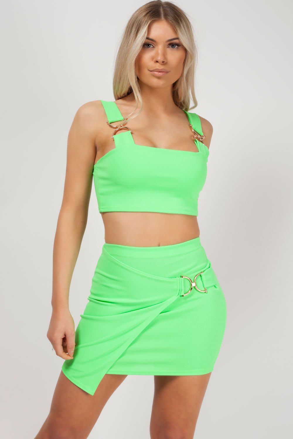 two piece skirt and top neon green styledup fashion