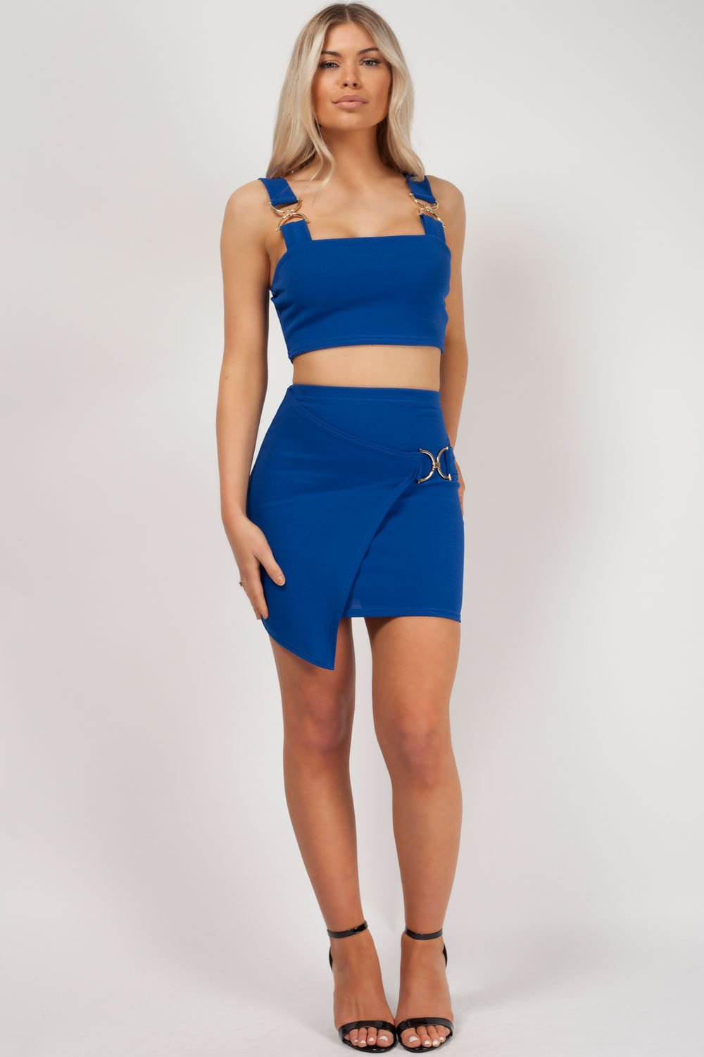 skirt and top set royal blue styledup fashion