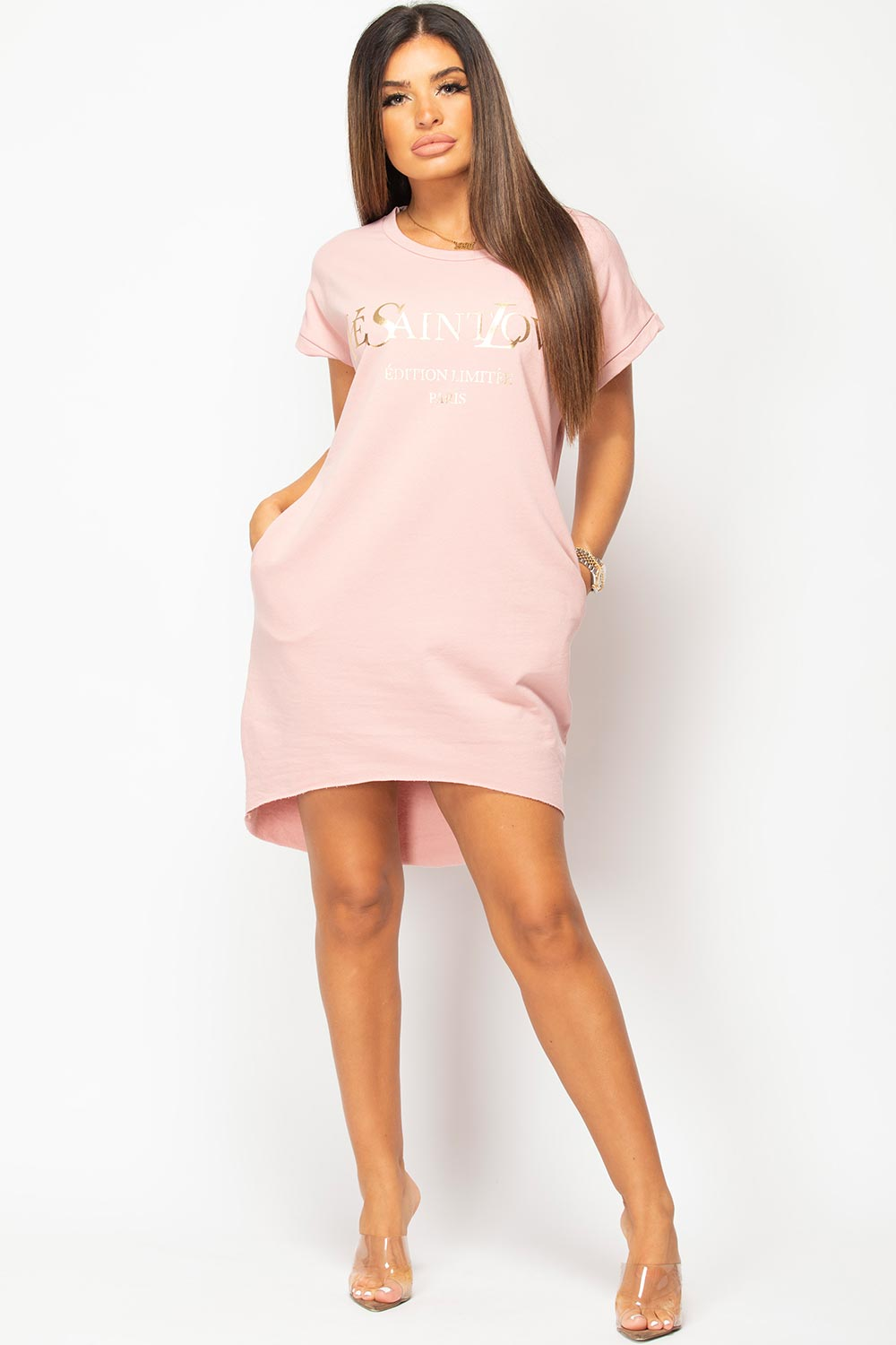 pink ye saint love t shirt dress