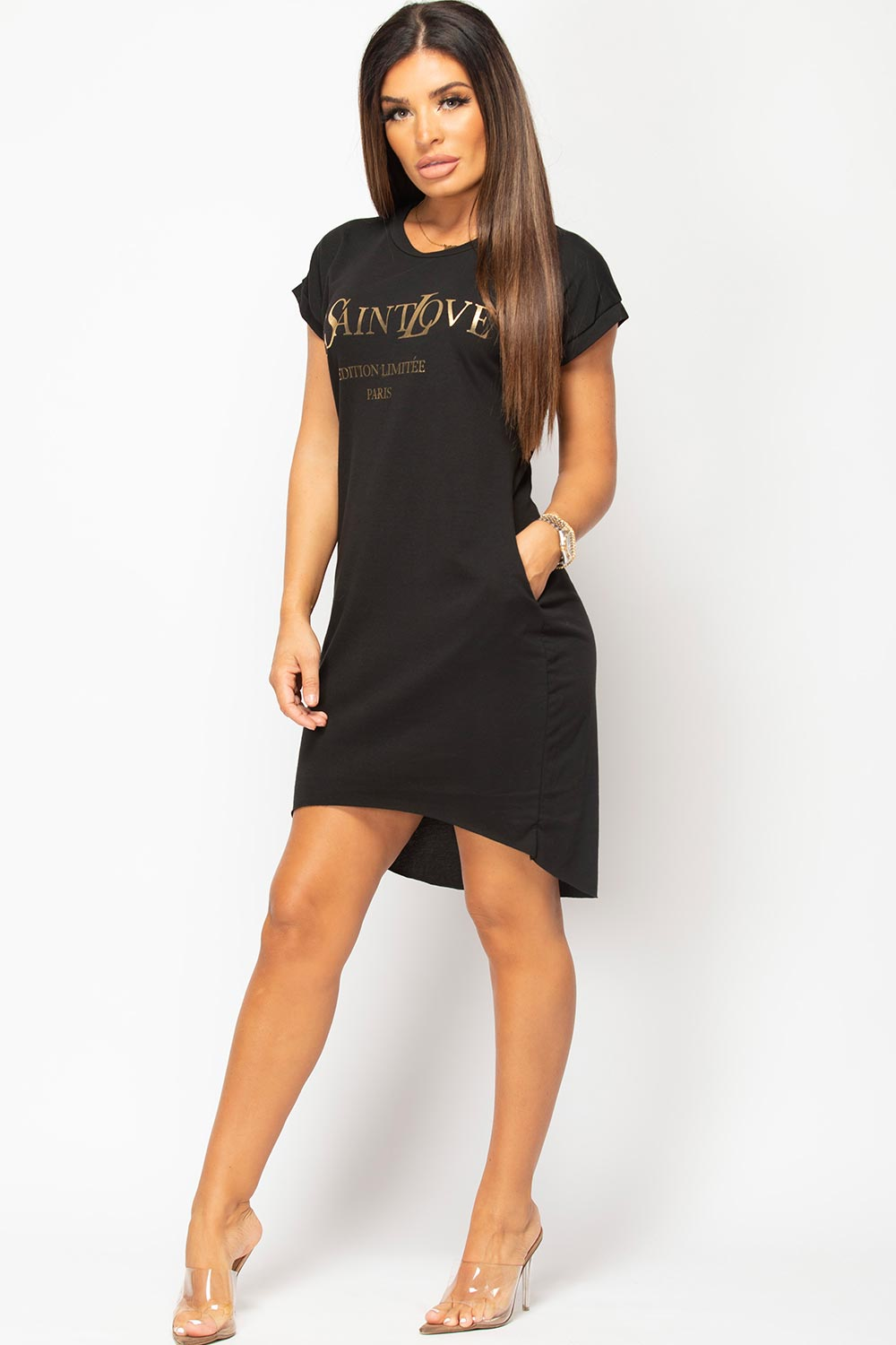 black t shirt dress ye saint love slogan