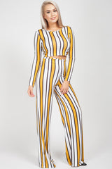 yellow stripes trouser and crop top set
