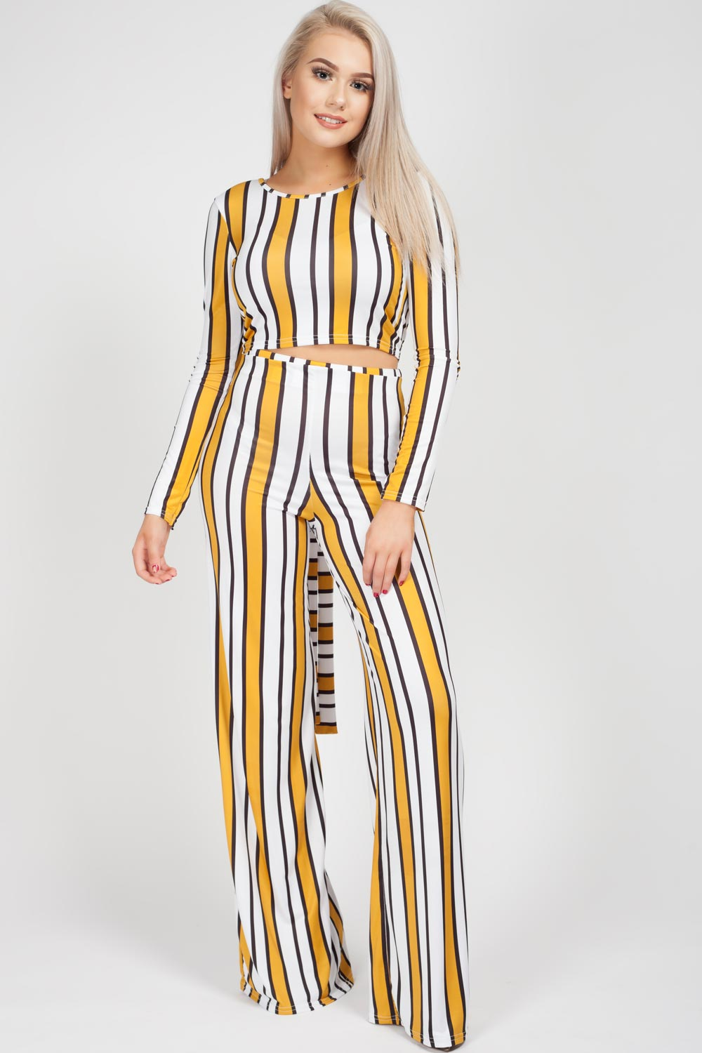 Yellow long sleeve crop top and wide leg trousers set