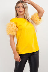 tulle ruffle sleeve top