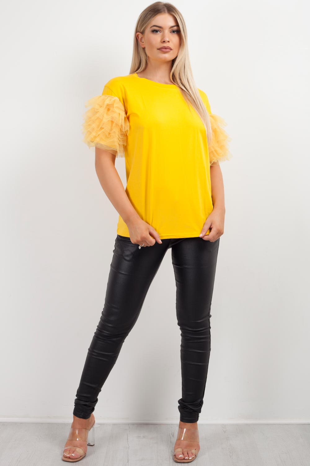 yellow tutu sleeve top