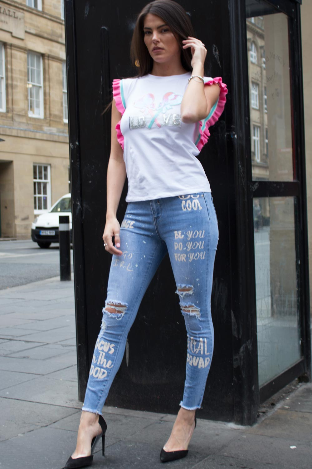 womens distressed graffiti print jeans