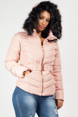quilted puffer padded belted coat pink with faux fur hood