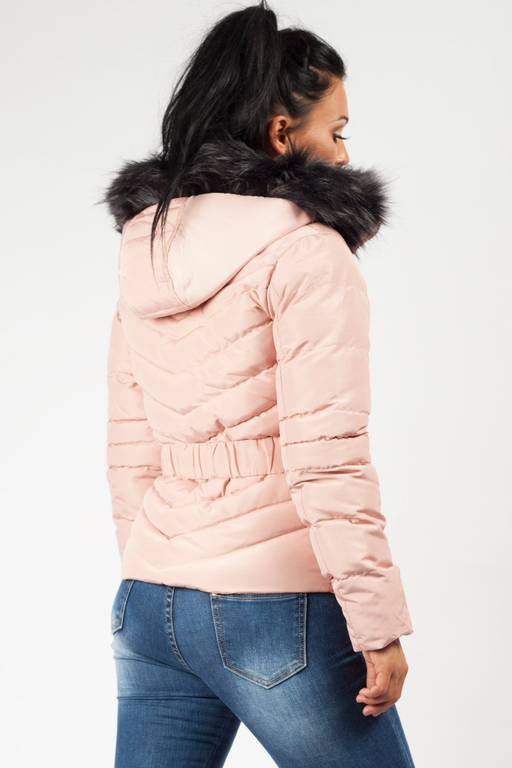 faux fur hood belted coat pink womens uk6