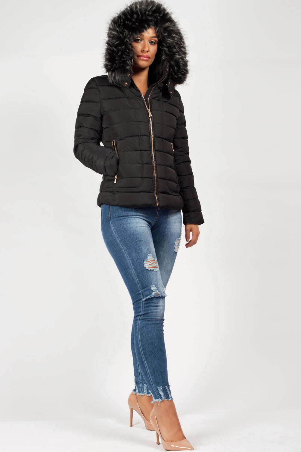 bc59f223a23 womens quilted jacket zara black. black quilted jacket with faux fur hood  womens