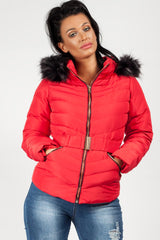 womens zara puffer coat red