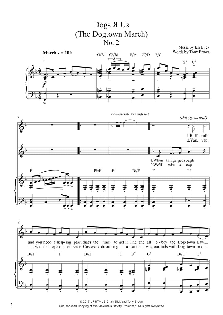 Dogs 'R' Us Piano/Vocal Score Sheet Music/MP3 Download - up4itmusic