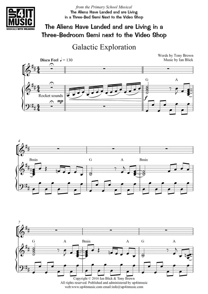 Galactic Exploration - Words, Piano/Vocal score & MP3 digital download - up4itmusic