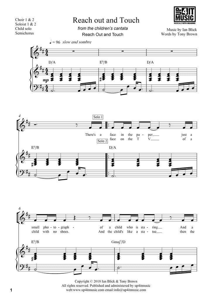 Reach Out and Touch -  Piano/Vocal Score Sheet Music/MP3 FREE Download - up4itmusic