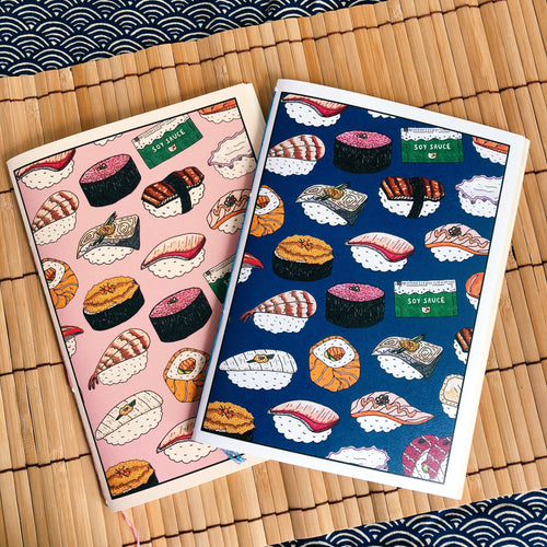 Assorted Sushi Hand-Stitched Notebook