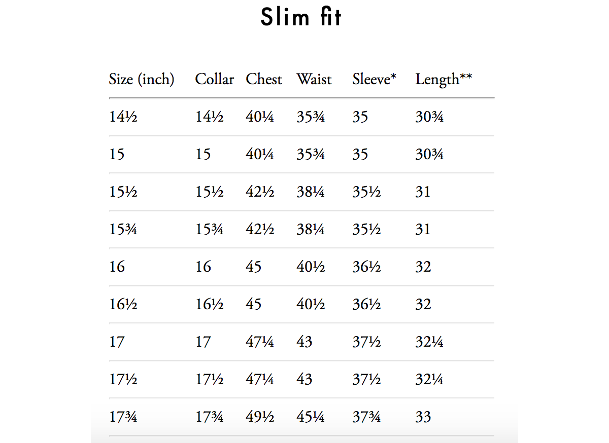 eton shirt size guide slim fit