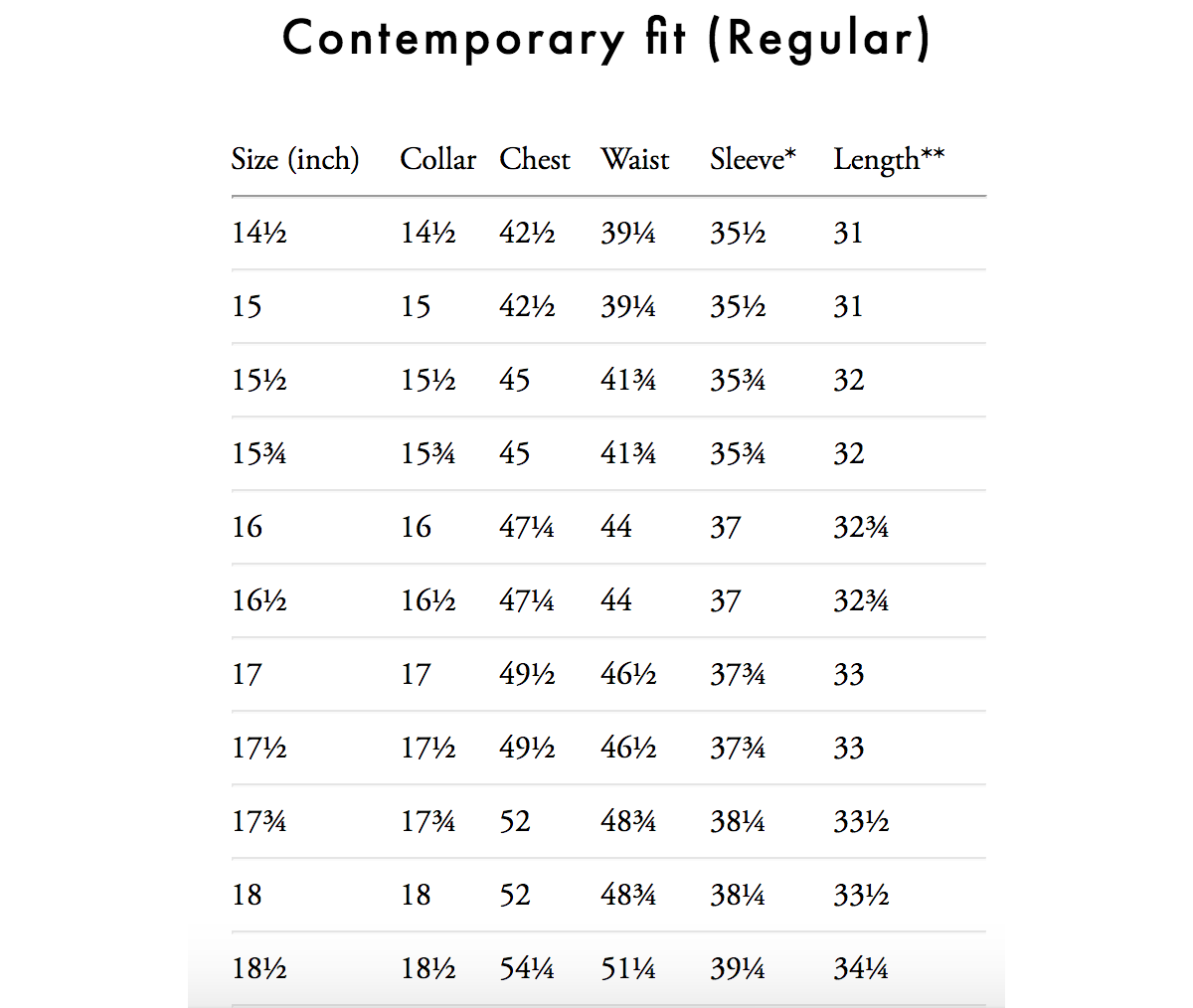 eton shirt size guide contemporary fit