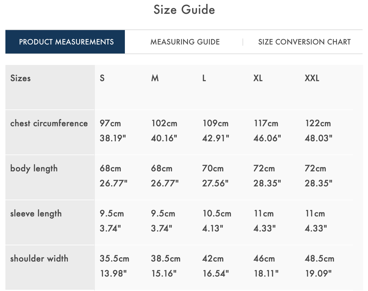 size guide adrian polo