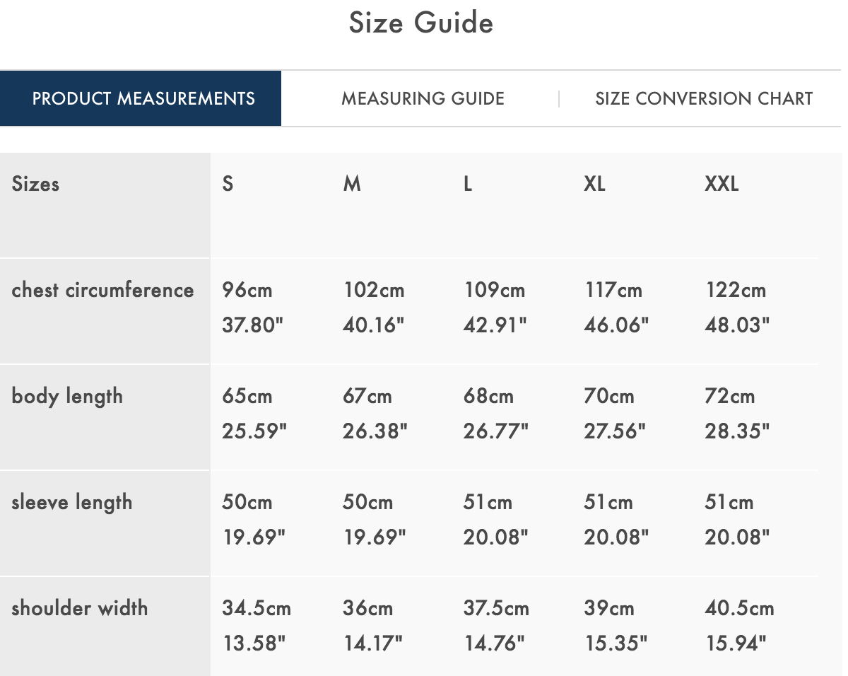 claygate size guide