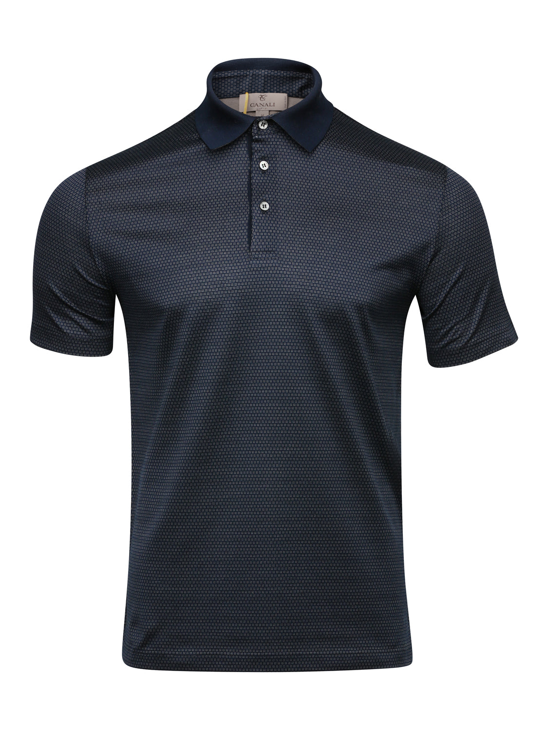 Canali Woven Polo With Contrast Collar (Blue)