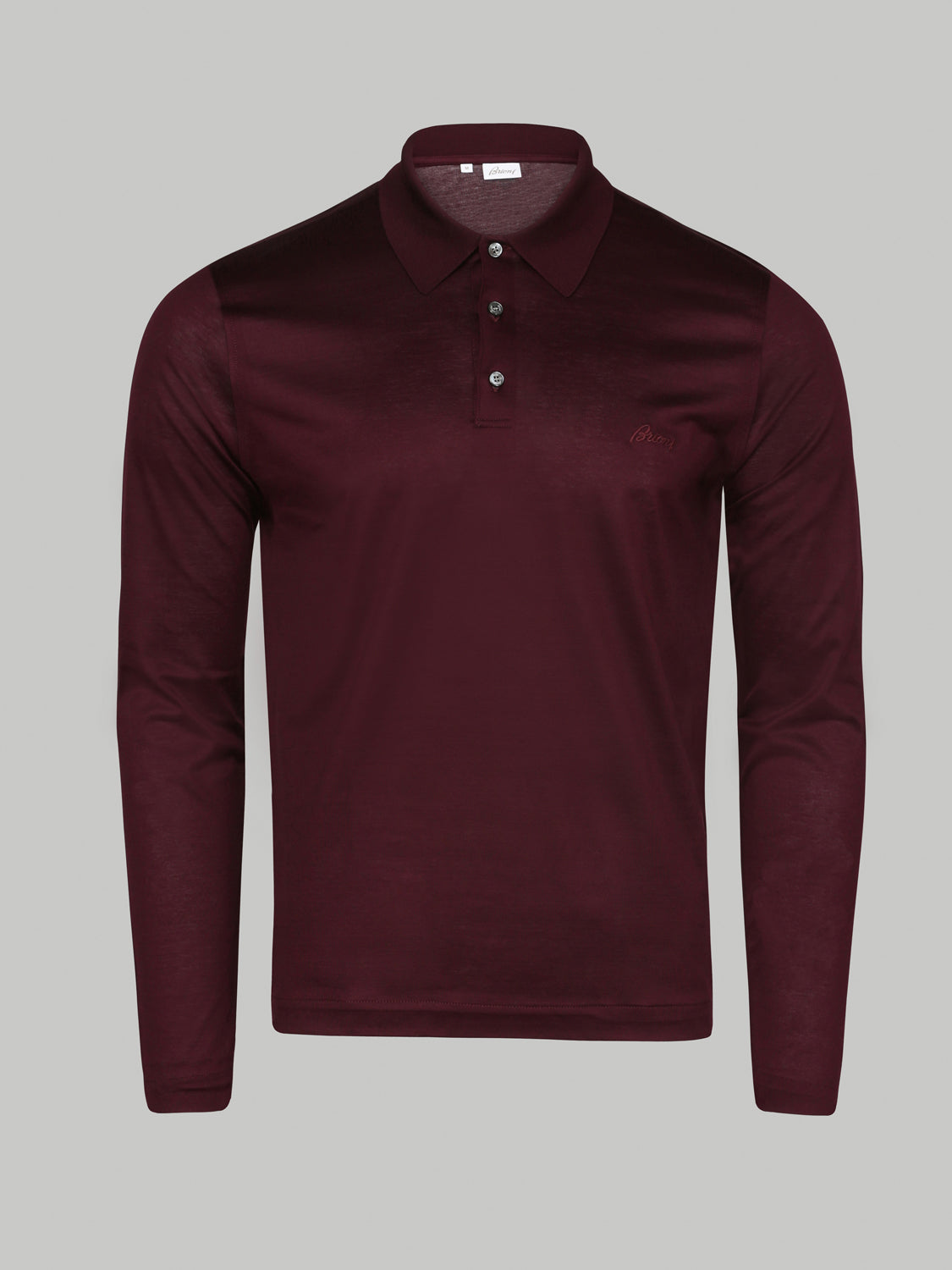 Brioni Long Sleeve Embrioded Polo (Amaranth)