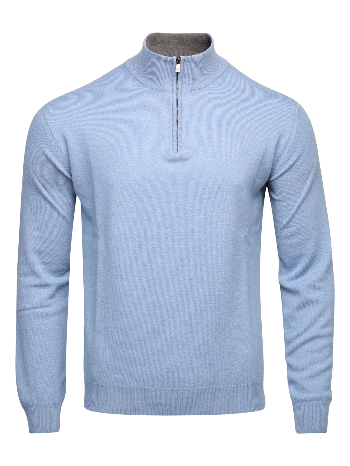 Corneliani Quarter Zip Cashmere Blend Knit (Sky Blue)