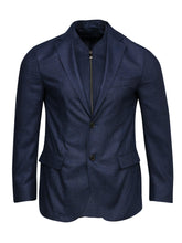 Corneliani Silk ID Check Jacket With Removable Chest Piece (Blue)