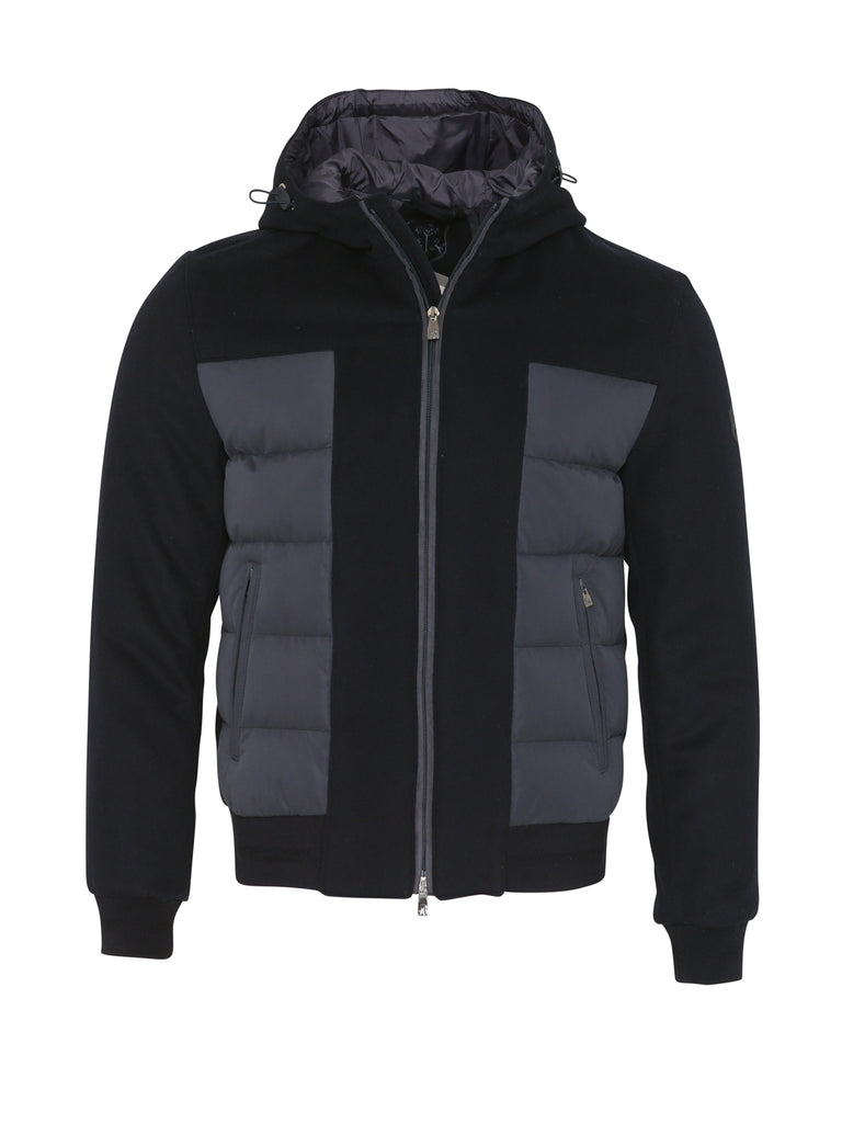 Corneliani Quilted Hooded Wool Jacket (Navy) - Union 22