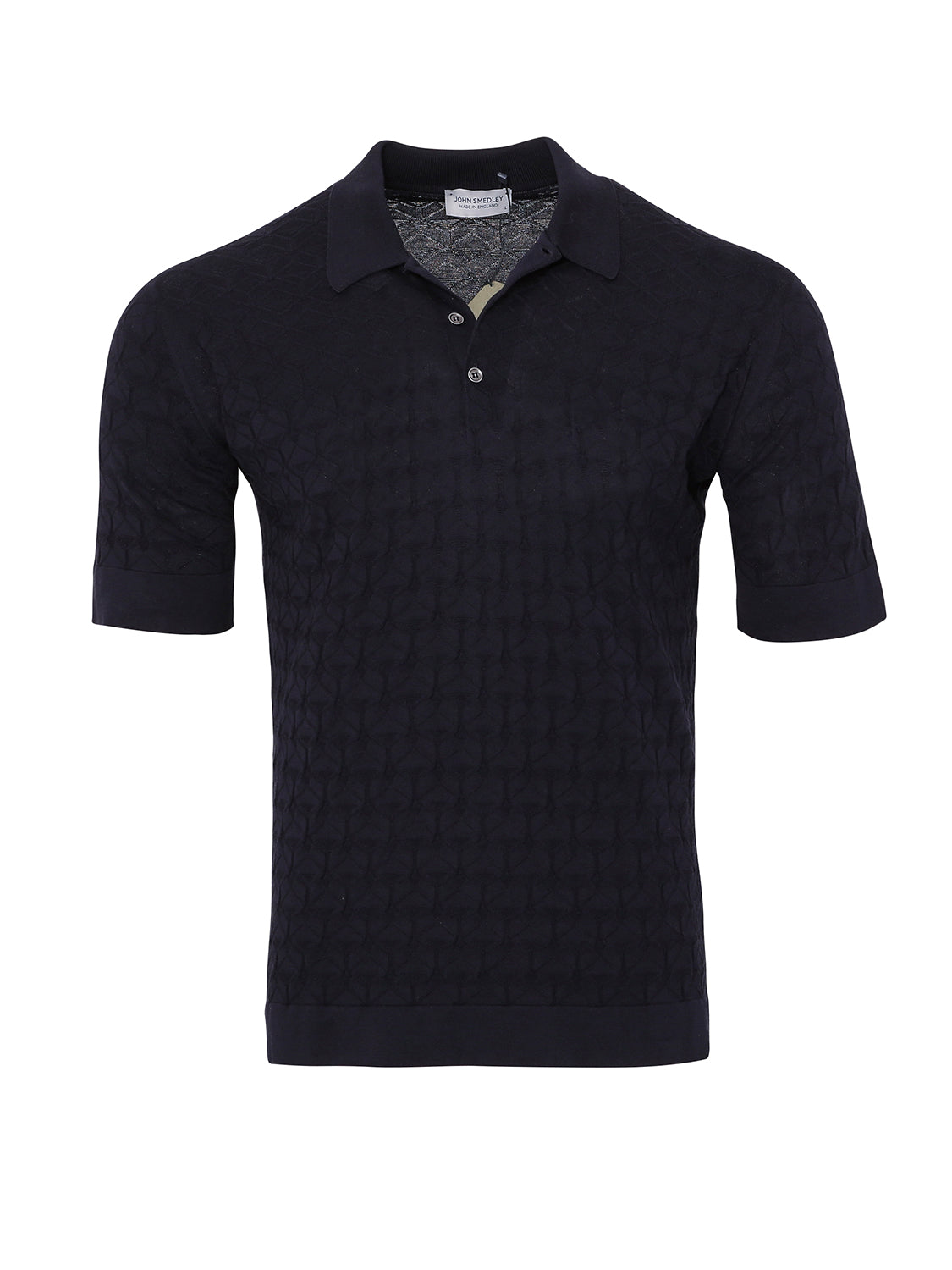 John Smedley Textured Forestry Short Sleeve Polo (Navy) - Union 22