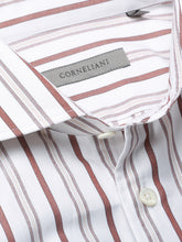 Corneliani Striped Shirt (White & Maroon) - Union 22
