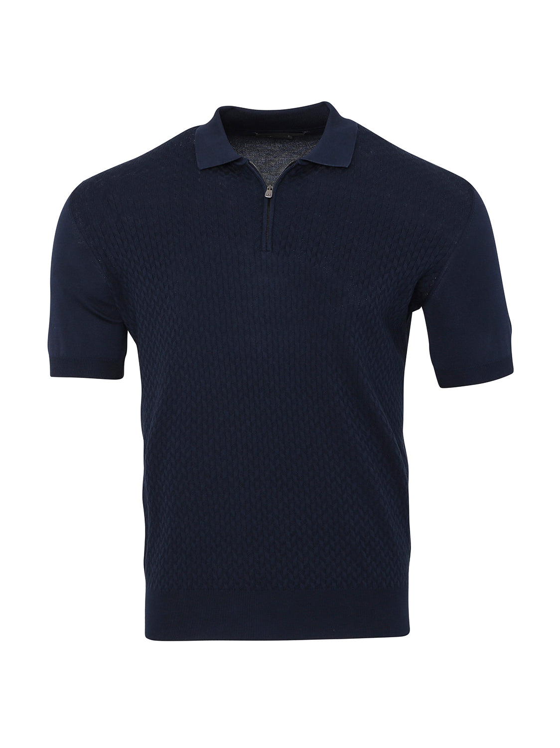 Corneliani Textured Zip Polo (Blue) - Union 22