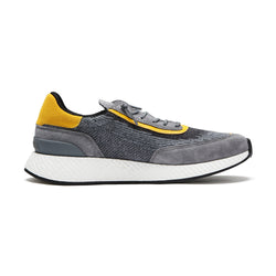 Z Zegna Techmerino™ Piuma Suede Sneakers (Grey / Yellow) - Union 22