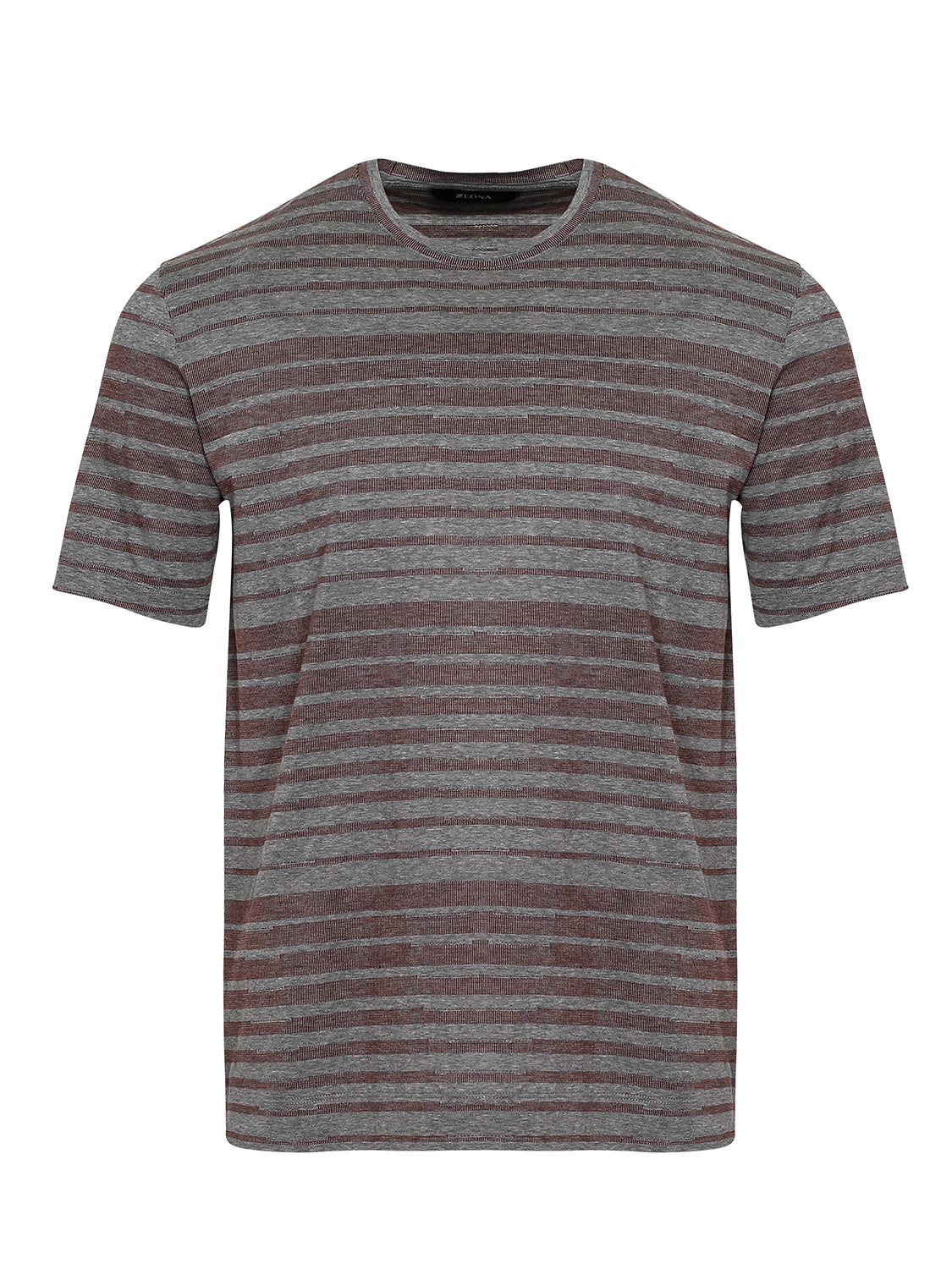 Z Zegna Mercerised Striped T-Shirt (Grey / Maroon) - Union 22
