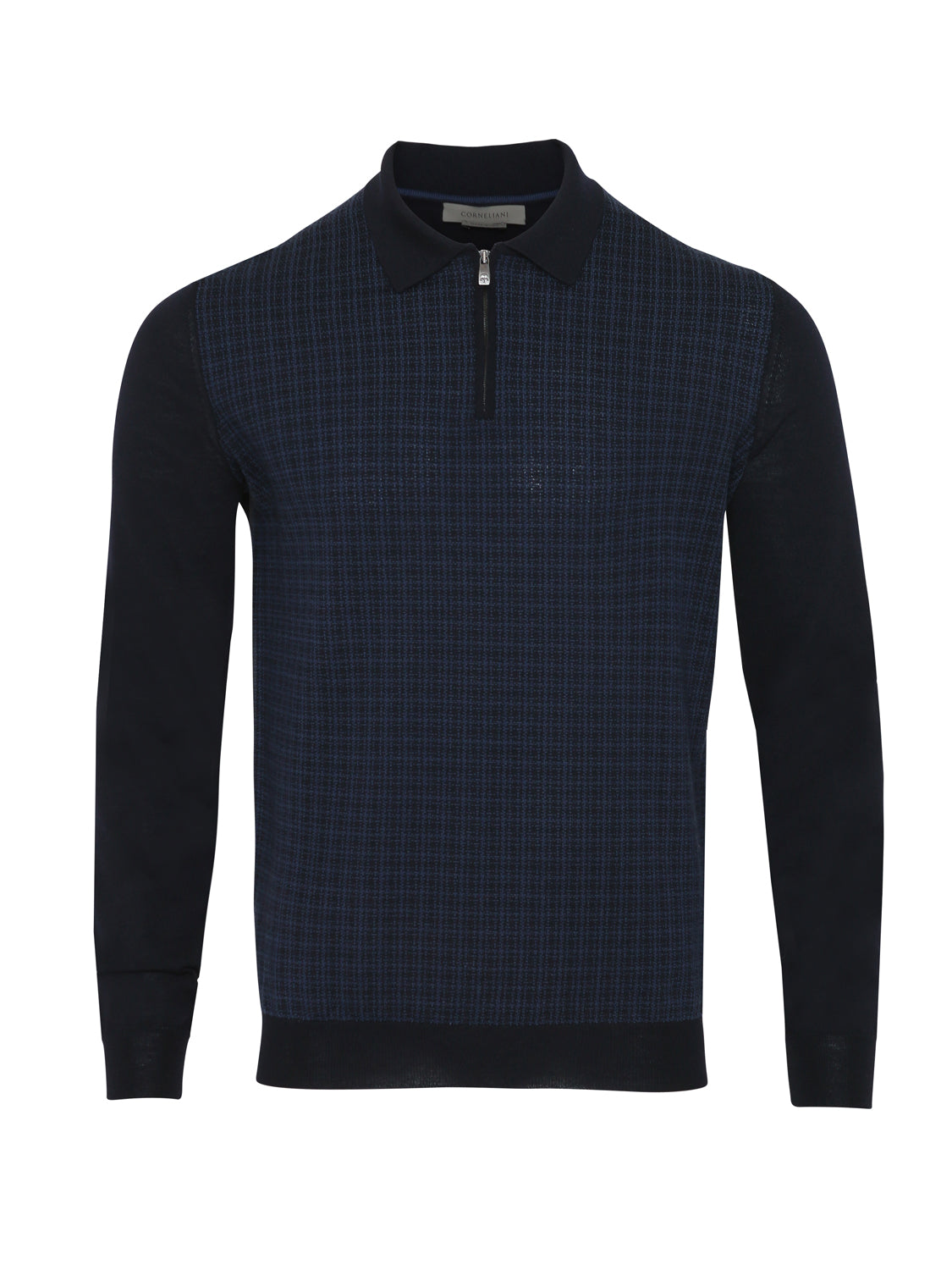 Corneliani Super Soft Virgin Wool Quarter Zip Textured Polo (Navy) - Union 22