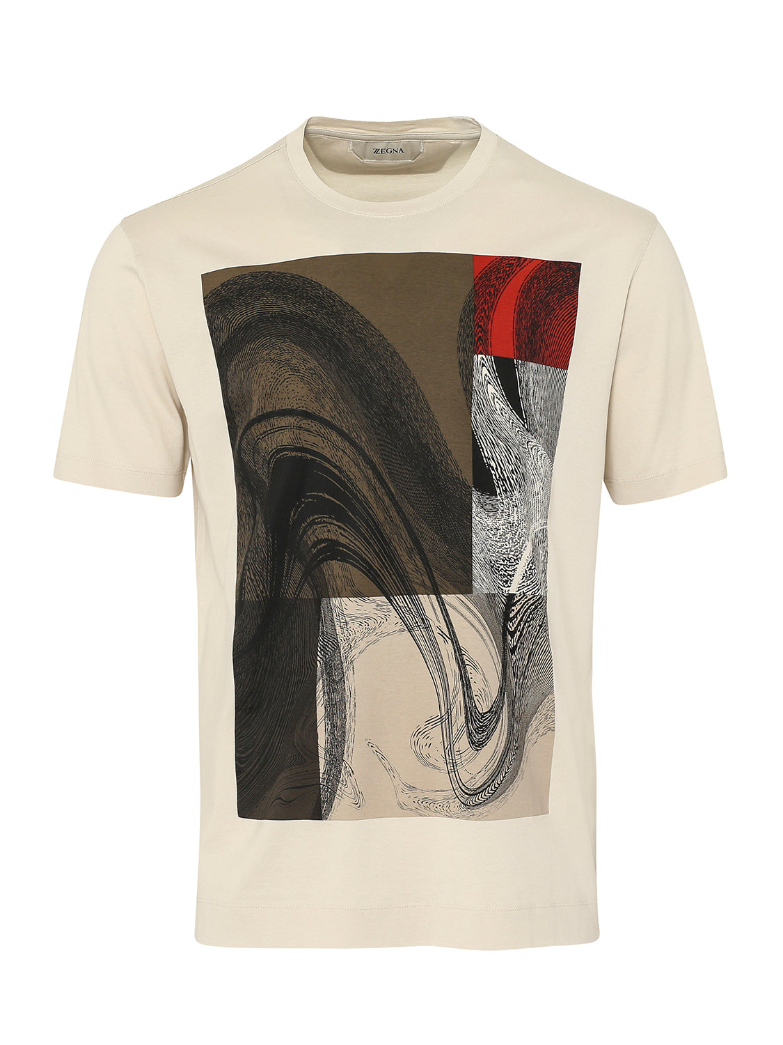 Z Zegna Mercerised Art Design T-Shirt (Beige) - Union 22